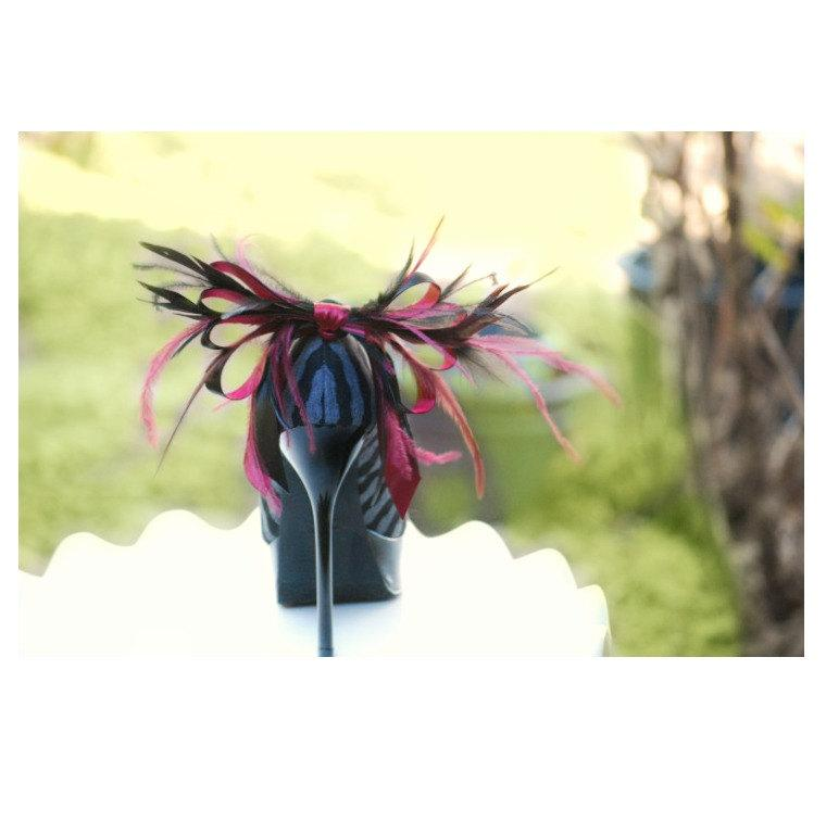 Mariage - Shoe Clips Black & Burgundy. Anemone Plumes Bow Christian Louboutin Inspired. Sophisticated Statement Gift, Elegant Holiday French Luxurious