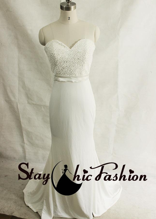 Wedding - White Jewels Sequined Top Strapless Long Jersey Bridal Dress with Sweep Train