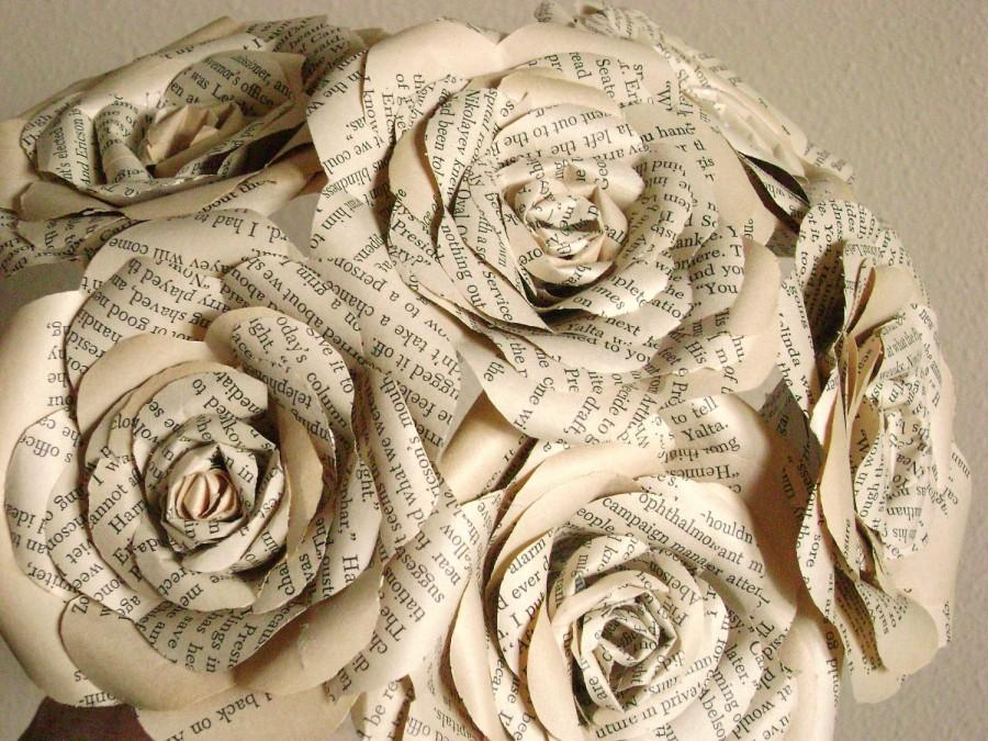 Hochzeit - vintage book paper roses long stemmed bouquet  for weddings, mothers day graduation, get well