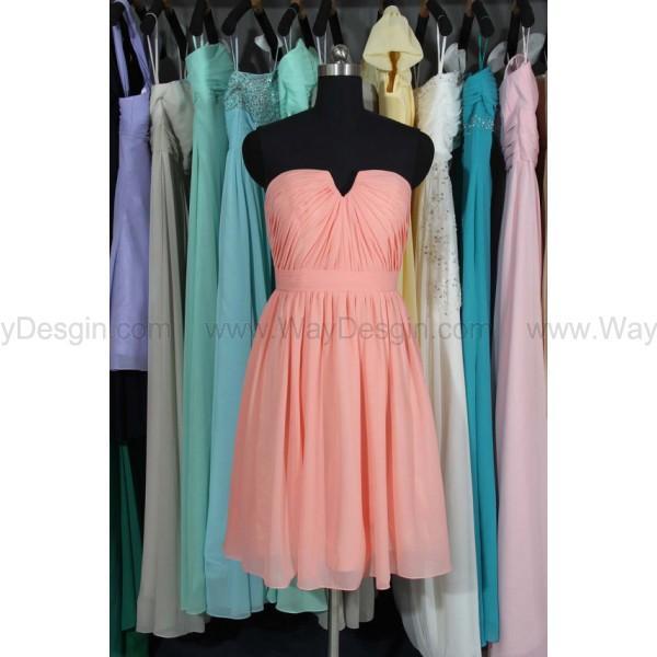 زفاف - Bridesmaid Dress, Sweetheart/ Small V-neck Chiffon Bridesmaid Dresses, Short Chiffon Bridesmaid Dress
