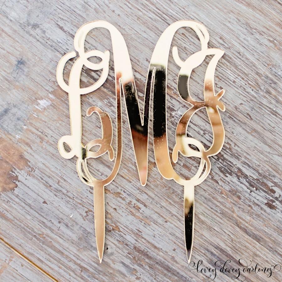 Hochzeit - Acrylic Gold Monogram Mirror Cake Topper