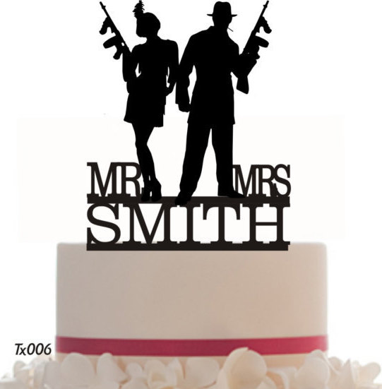 Mariage - Cake Topper Wedding Mr and Mrs Gang, Italian, With removable spikes and free base for display