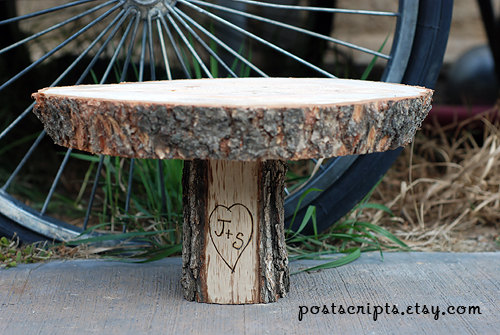 """Hochzeit - 16"""" Rustic Wood Tree Slice Cake Pedestal for your Wedding, Valentine's Day, or Party - Great CUSTOM CHRISTMAS GIFT"""