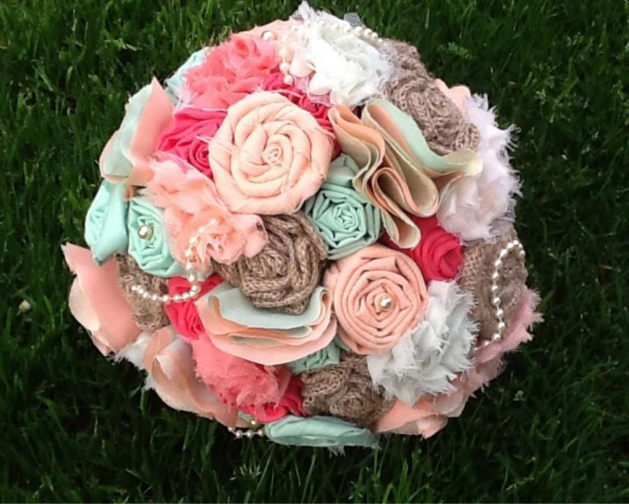 Fabric Bouquet, Fabric Flower Bouquet, Fabric Bridal Bouquet, Shabby ...