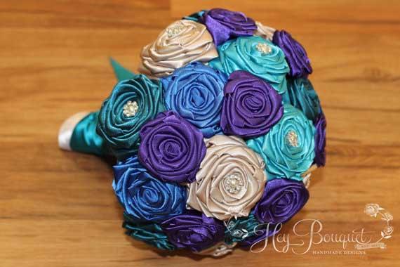 زفاف - Teal Peacock Inspired Fabric Bouquet, Teal, Turquoise, Blue, Purple, & Champagne Bouquet, Peacock Bouquet