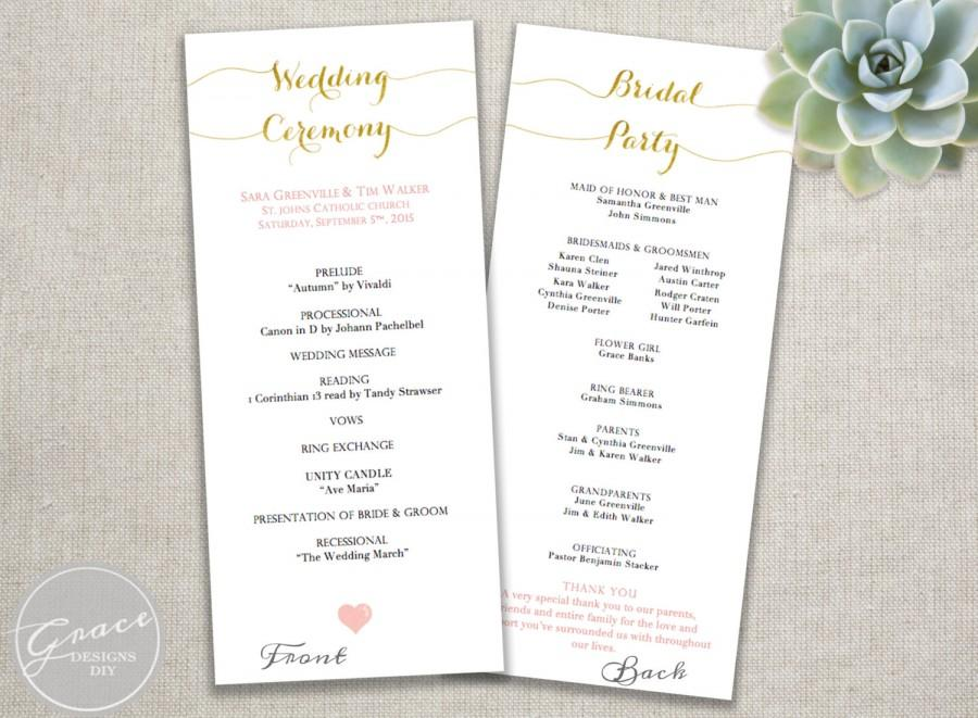 Mariage - Gold and Blush Tall Program Template / Download Printable Editable DIY Template / Rustic pink heart / Gold Faux Foil calligraphy style font