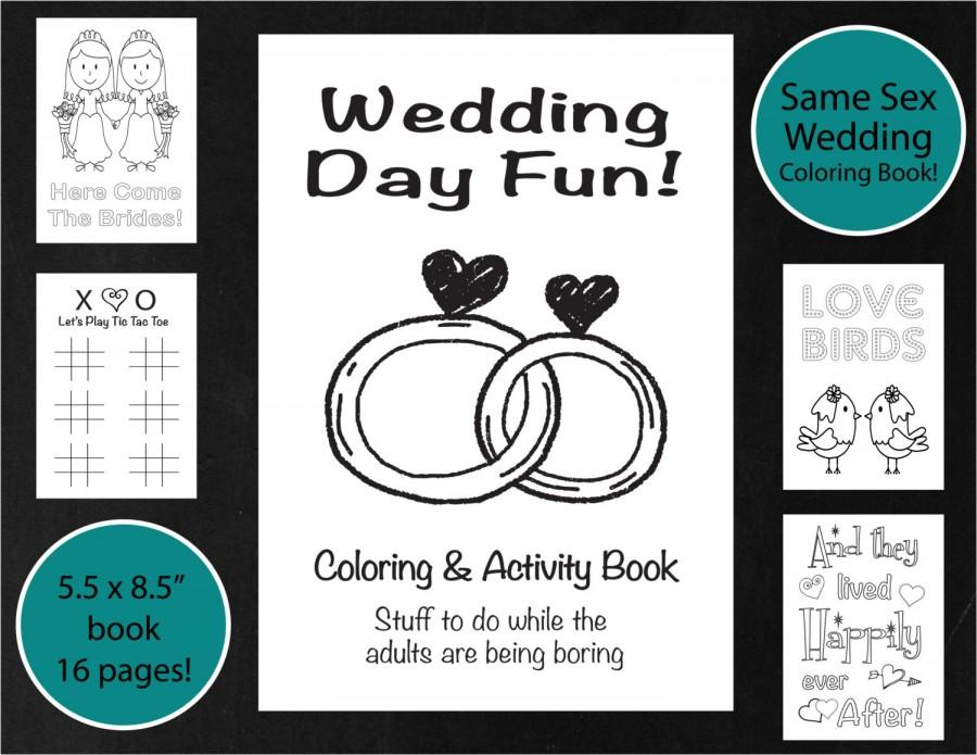 same sex wedding coloring activity book brides lesbian wedding coloring book kids wedding activity book printable reception game - Kids Wedding Coloring Book