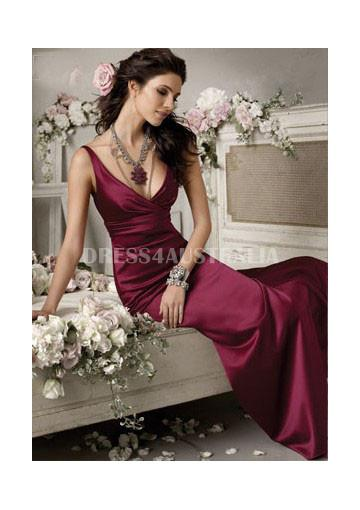 Buy australia elegant v neck satin backless floor length for V neck wedding dresses australia