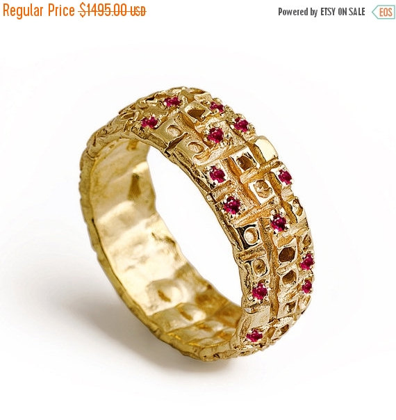 Black Friday SALE MAJESTIC Gold Ruby Ring Ruby Wedding Band 14k