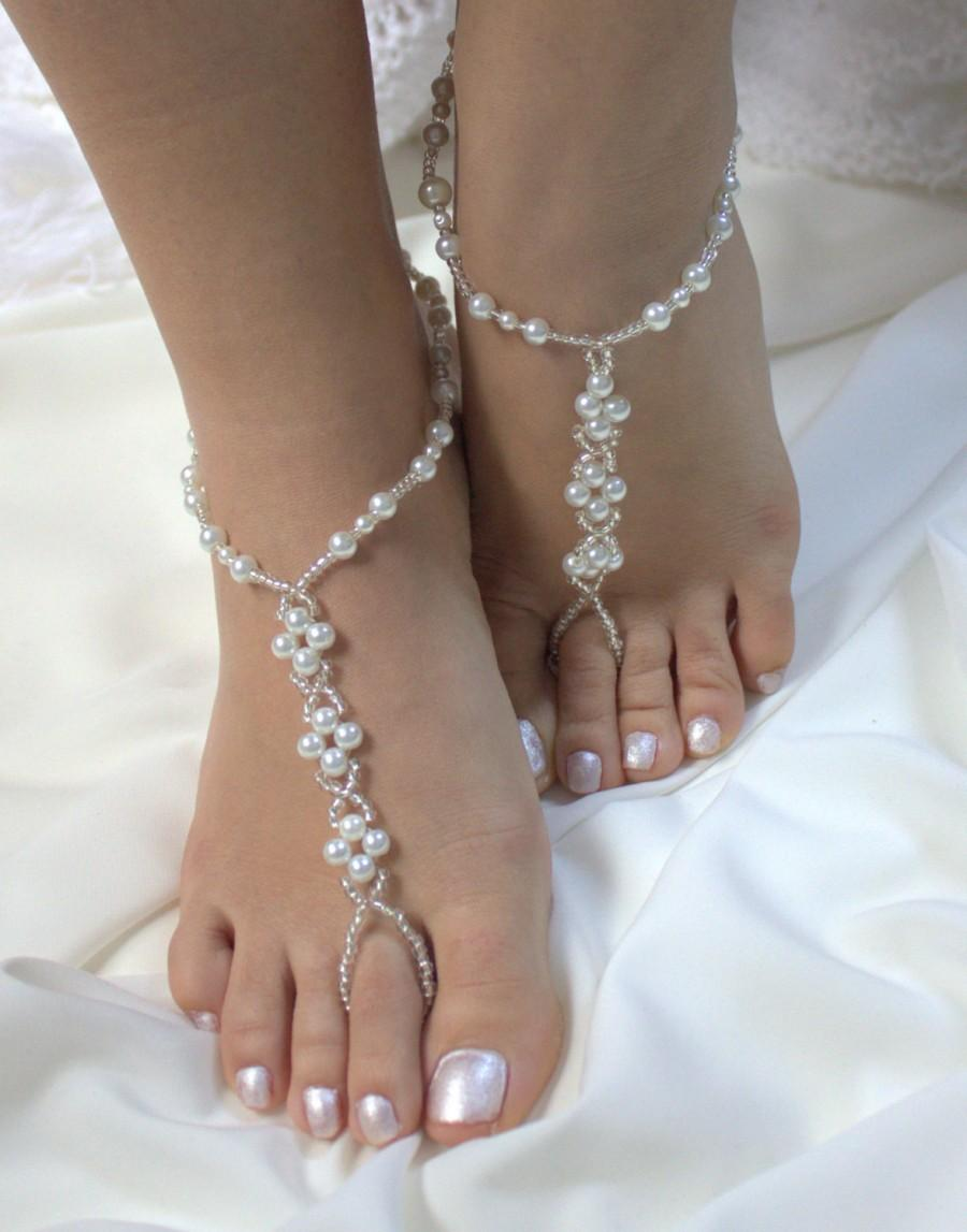 W 12 PEARL And CRYSTAL Beaded Pair Of Beach Wedding Sandals Foot