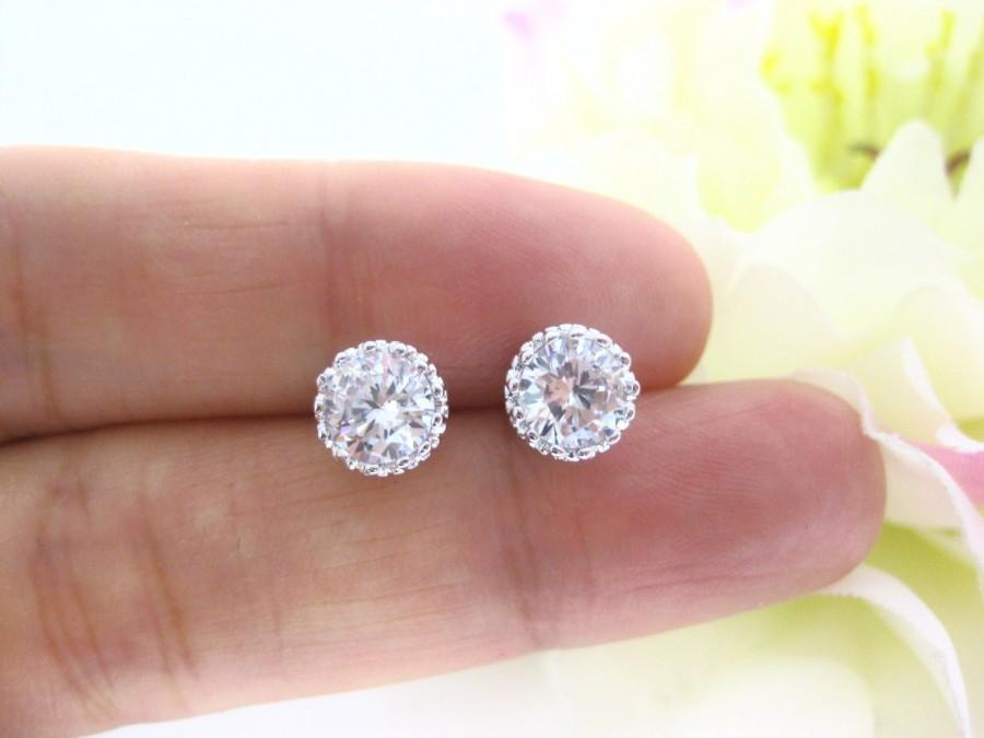 Wedding - White Gold Plated Round Clear White Earrings Cubic Zirconia Stud Earring Wedding Jewelry Bridesmaids Gift Trendy Item Silvery Earrings(E093)