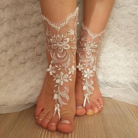 Wedding - Copper frame bridal anklet, ivory frame Beach wedding barefoot sandals, bangle, wedding anklet, free ship, anklet, bridal, wedding