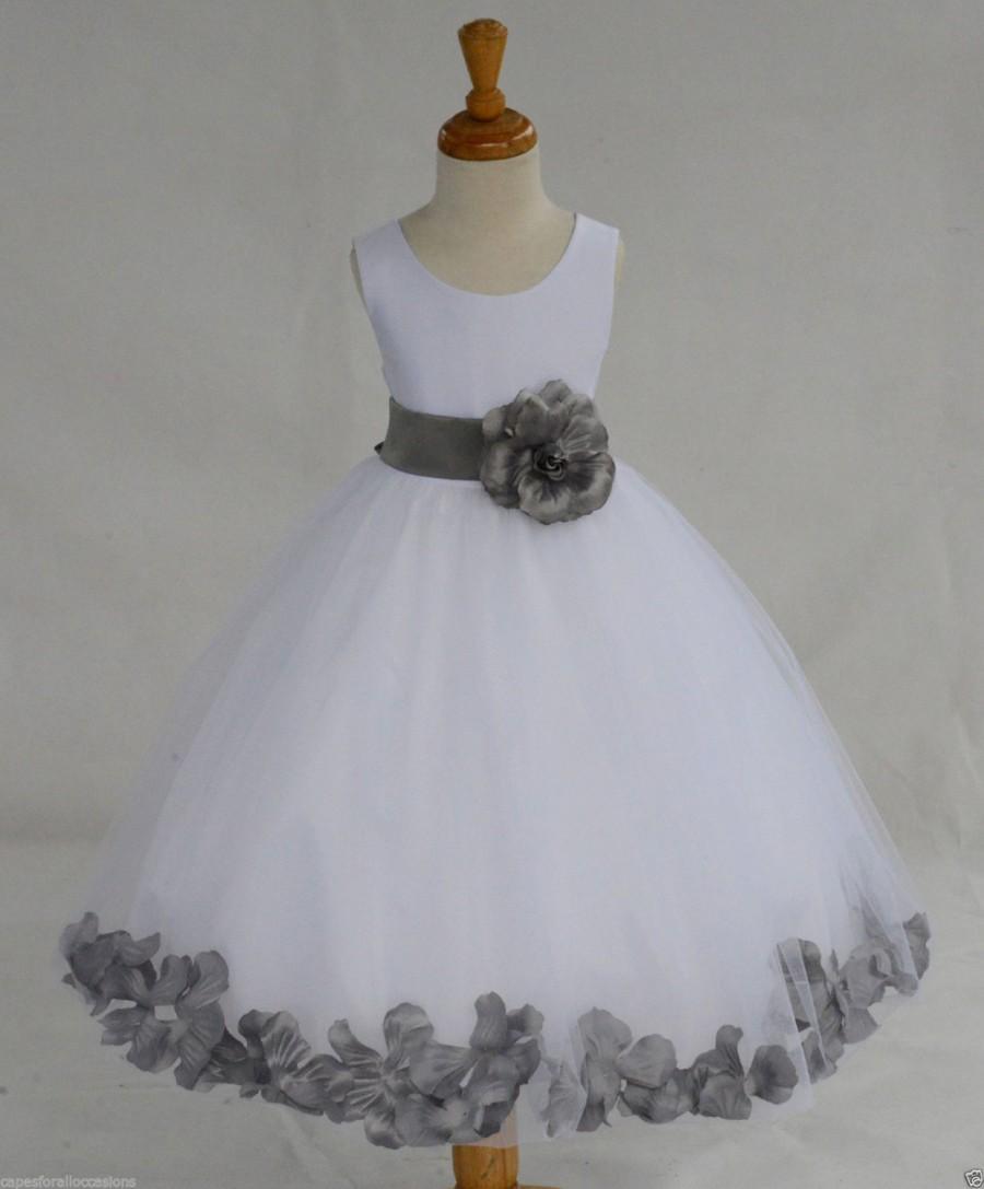 Mariage - White Flower Girl dress bow sash pageant petals wedding bridal children bridesmaid toddler elegant sizes 6-9m 12-18m 2 4 6 8 10 12 14