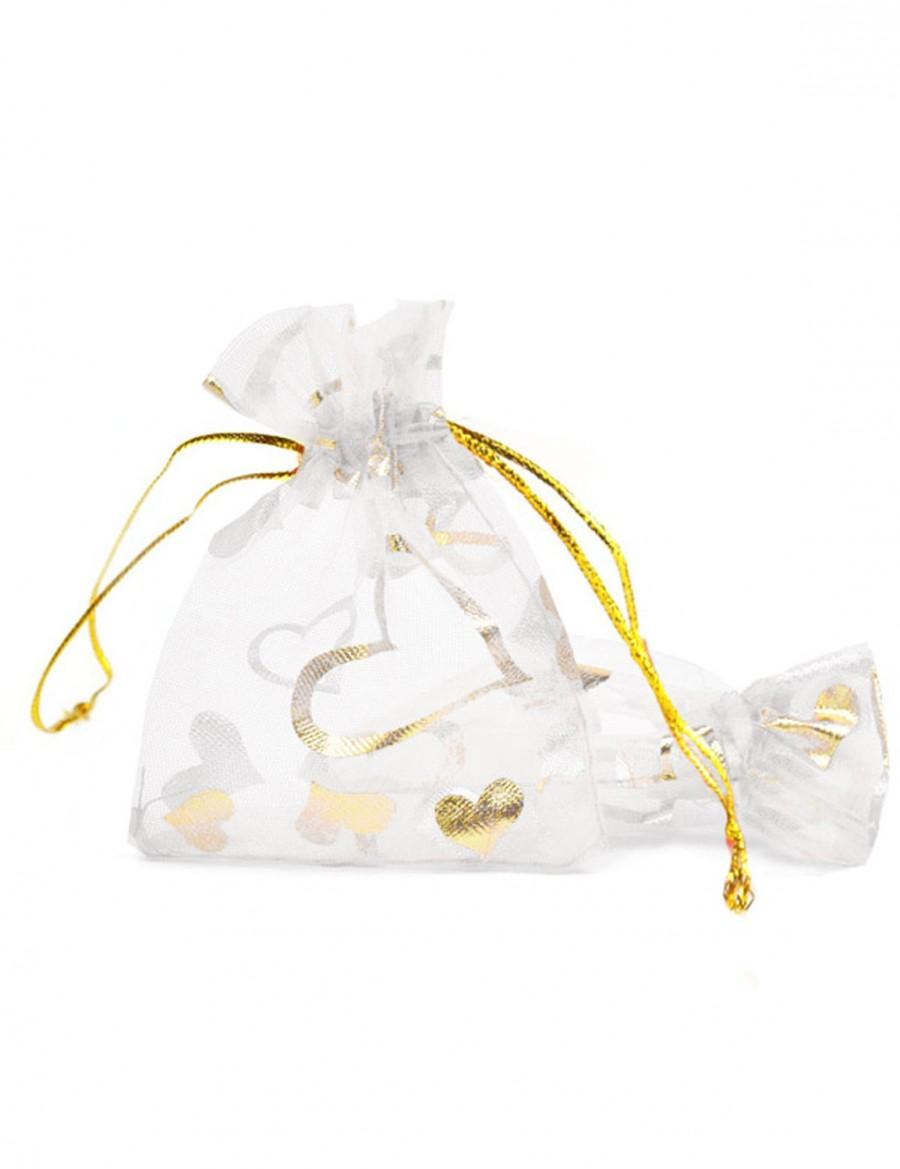 Free Shipping 20pcs 3 4 9 7cm White Organza Bags Drawstring Wedding Gift Sheer Party Candy Bb0003 10