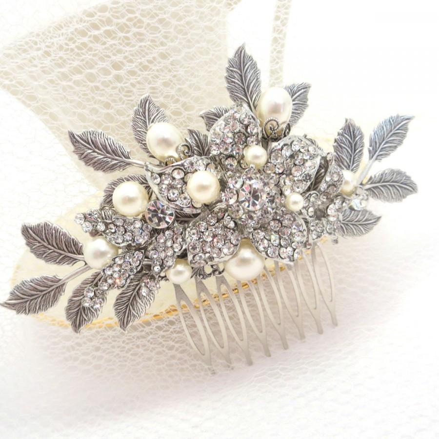 Rose gold wedding hair accessories - Bridal Hair Comb Wedding Hair Comb Wedding Headpiece Rose Gold Headpiece Rhinestone Hair Comb Antique Silver Hair Comb Hair Accessories