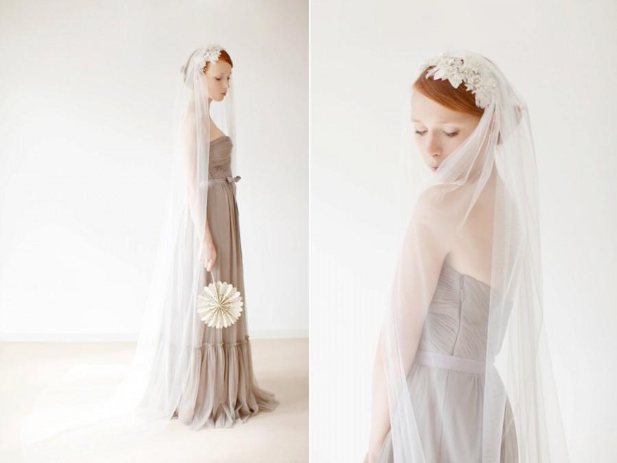"""Mariage - Idyllic - Tule bridal veil 90"""" Chapel Length, Chapel Veil, Long Ivory Veil"""