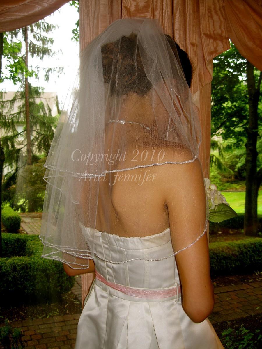 Hochzeit - Two Tier Veil, Bead Veil - Beaded Edge Veil - Elbow Length