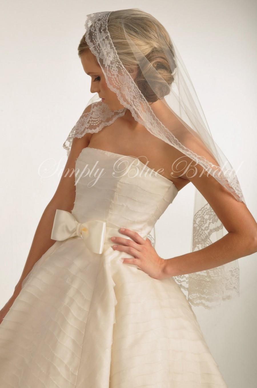 Hochzeit - IVORY Wedding Veil - Lace Mantilla Veil, Floral Lace Trim - Mantilla Wedding Veil Fingertip Length - READY to SHIP