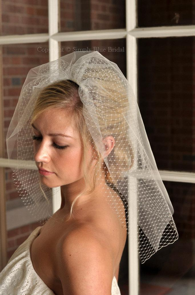Свадьба - IVORY Wedding Veil - Short Veil, Tulle and Russian Net Shoulder Veil - READY to SHIP