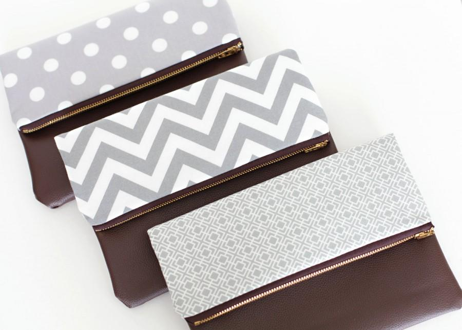 Mariage - Bridesmaid Foldover Clutch, Faux Leather, Set of 3 Bridal Party Gift, Gray Wedding