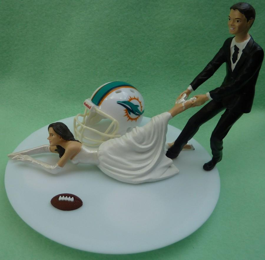 Wedding Cake Topper Miami Dolphins G Football Themed W Garter Sports Fan Bride Groom Bridal Shower Reception Sporty Fun Gift Idea Humorous