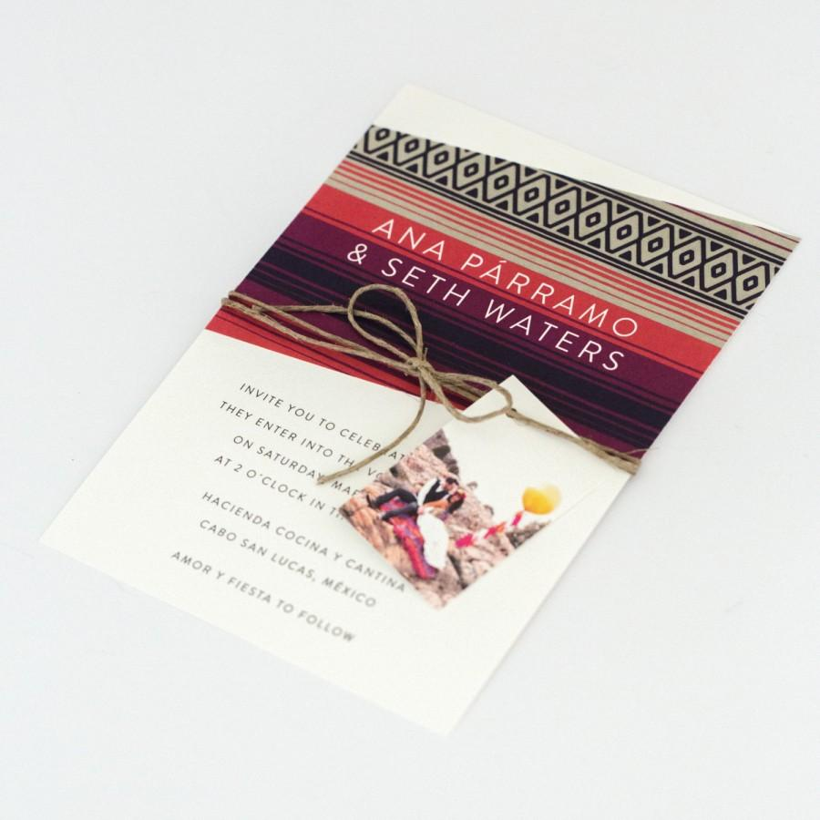 Boho Wedding Invitations - Bright And Colorful Sarape Destination ...
