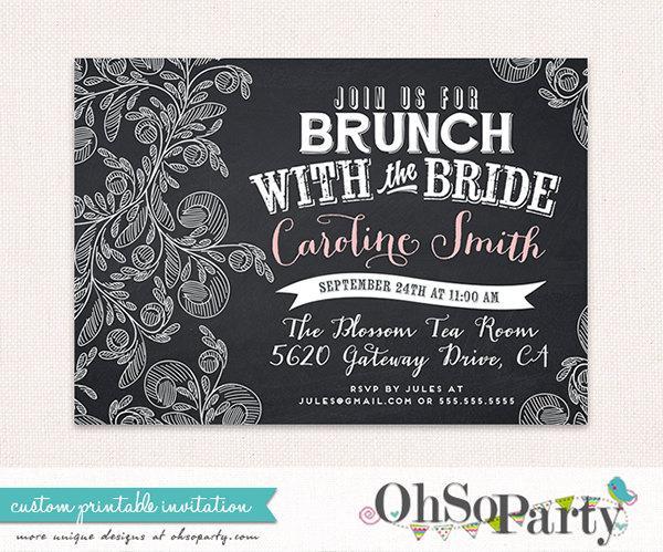 CHALK BRUNCH Custom Bridal Brunch Invitation Card Brunch With The