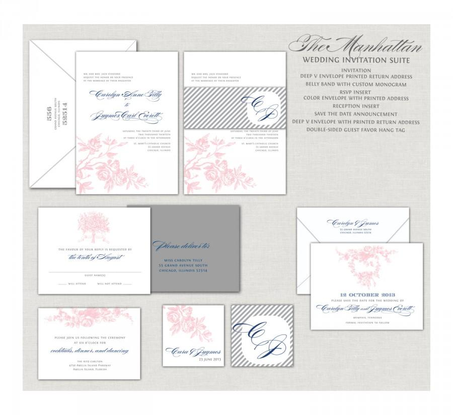 romantic wedding invitations custom invitations blush wedding invitations navy blue gray and pink belly band monogram roses - Navy And Blush Wedding Invitations