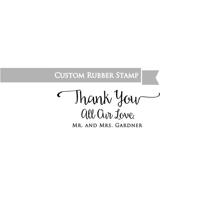 زفاف - Thank You Wedding Stamp with Names , Custom Rubber Stamp , Favors Thank You Cards , Mr and Mrs