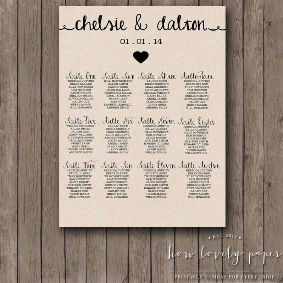 Свадьба - Printable Seating Chart - the Ella Collection