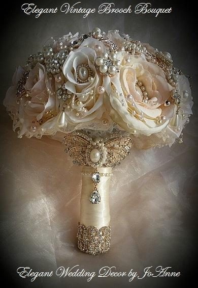 Свадьба - Ivory and Gold Bouquet - DEPOSIT for an Ivory,blush pink and Gold Brides Brooch Bouquet, Ivory and Gold Jeweled Bouquet, brooch Bouquet