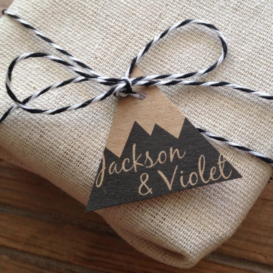 Hochzeit - Mountain Wedding Favor Gift Tags. Set of 80 Personalized Tags