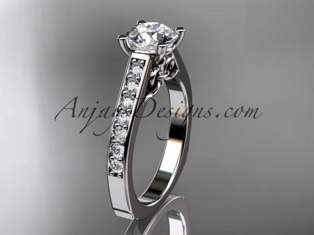 Mariage - platinum diamond unique engagement ring, wedding ring ADER114