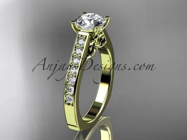Boda - 14kt yellow gold diamond unique engagement ring, wedding ring ADER114