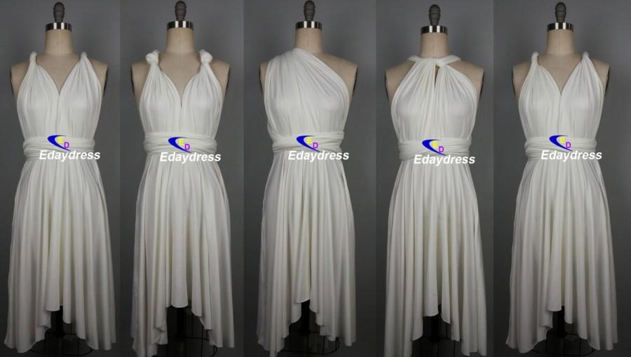 Свадьба - Multiway Butterfly Hem Short Tea Knee Length Wedding Bridesmaid Dress White Convertible Infinity Wrap Dress