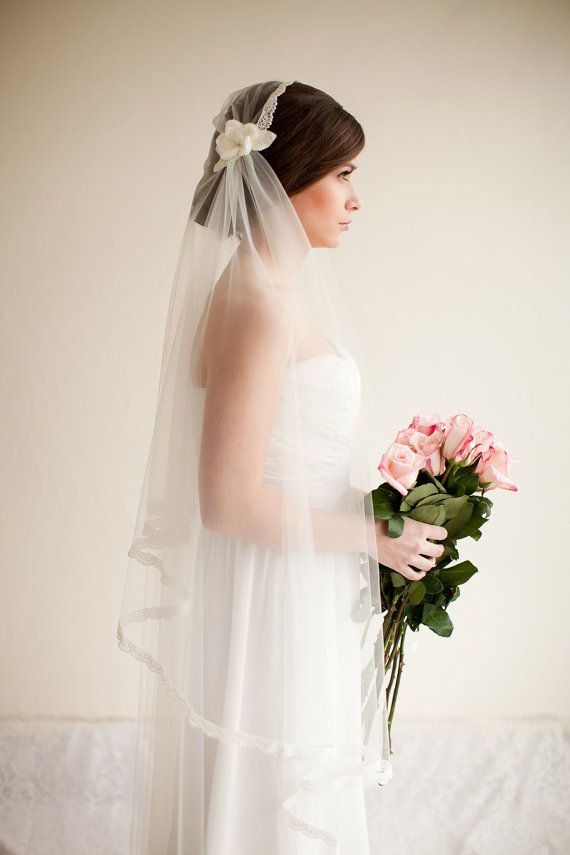 Mariage - Reserved For Lauren Bridal Cap Veil With Lace And Silk Flowers, Cathedral Length - Camilla MADE TO ORDER- Style 8313