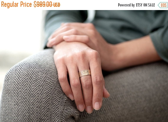 Sale - Women Wedding Band, Wide 14K Gold Wedding Ring, Solid Gold ...