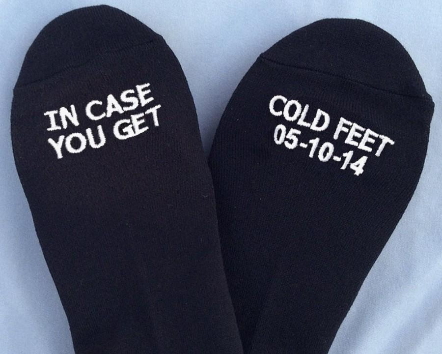 Embroidered Grooms Socks In Case You Get Cold FeetTM WITH CUSTOM DATE Wedding Gift Idea Mens From Bride Groom