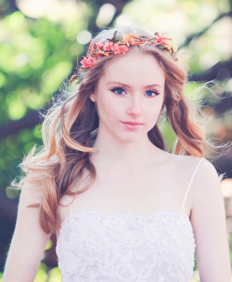 Mariage - autumn wedding crown, woodland wedding, fall flower wreath