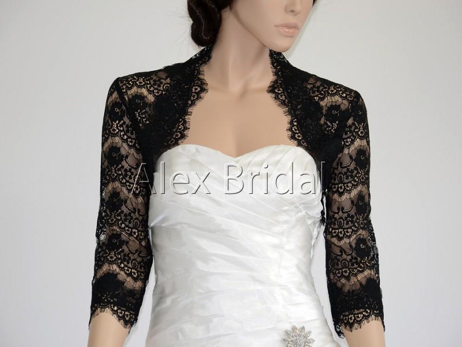 زفاف - 3/4 sleeve black lace bolero wedding jacket