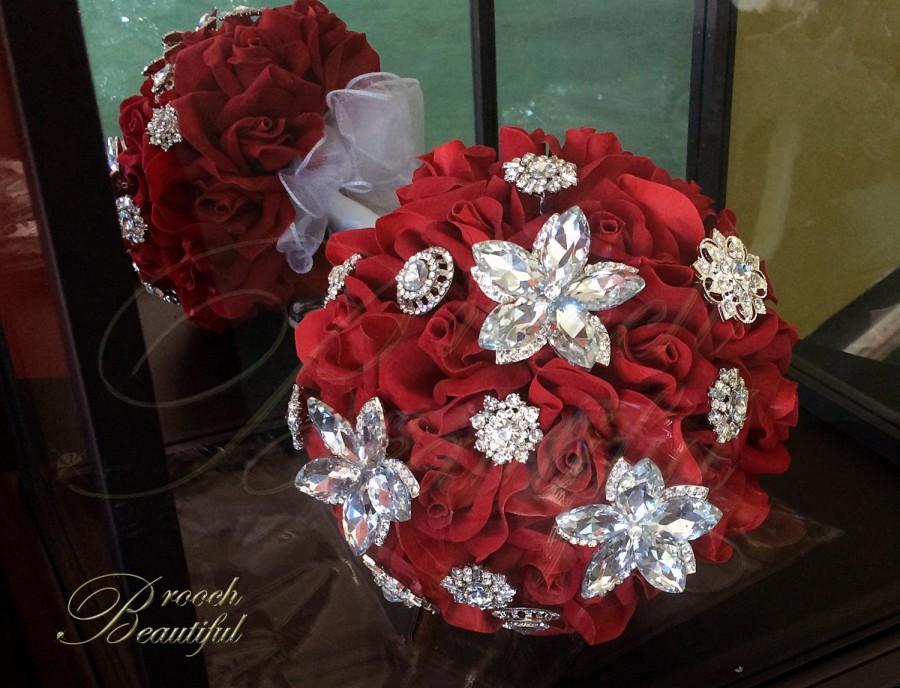 زفاف - LIQUIDATION SALE - Red & Bling Velvet Rose Brooch Bouquet
