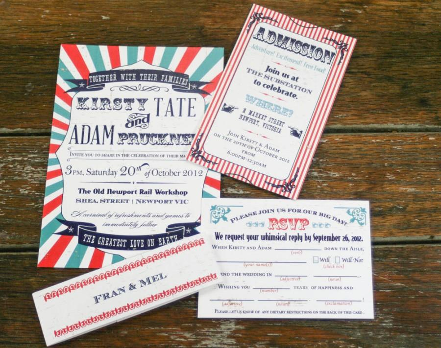 Vintage Circus Wedding Invitations,Retro Circus Wedding Invites ...