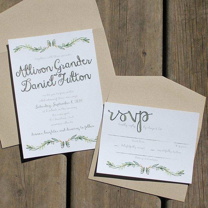 Wedding - Garden Vine Watercolour Style Wedding Invitation Suite