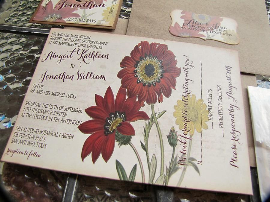 Mariage - Vintage Wedding Invitation Autumn Floral