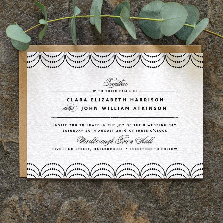 Mariage - Modern Minimalist Wedding Invitation / 'Coco' Elegant Wedding Invite / Black and White / Custom Colours Available / ONE SAMPLE