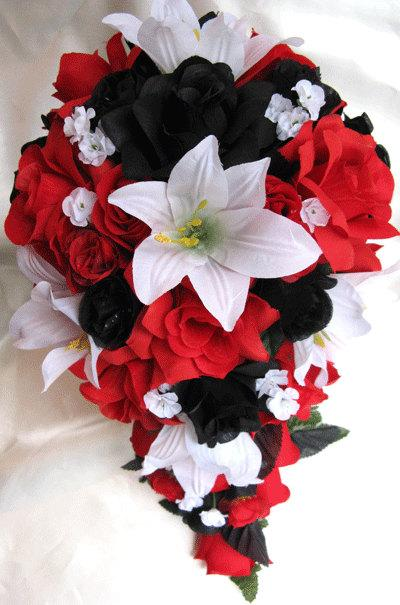 Hochzeit - Wedding bouquet Bridal Silk flowers Cascade BLACK RED WHITE Lily  21 pc package Free shipping Centerpieces Decoration RosesandDreams