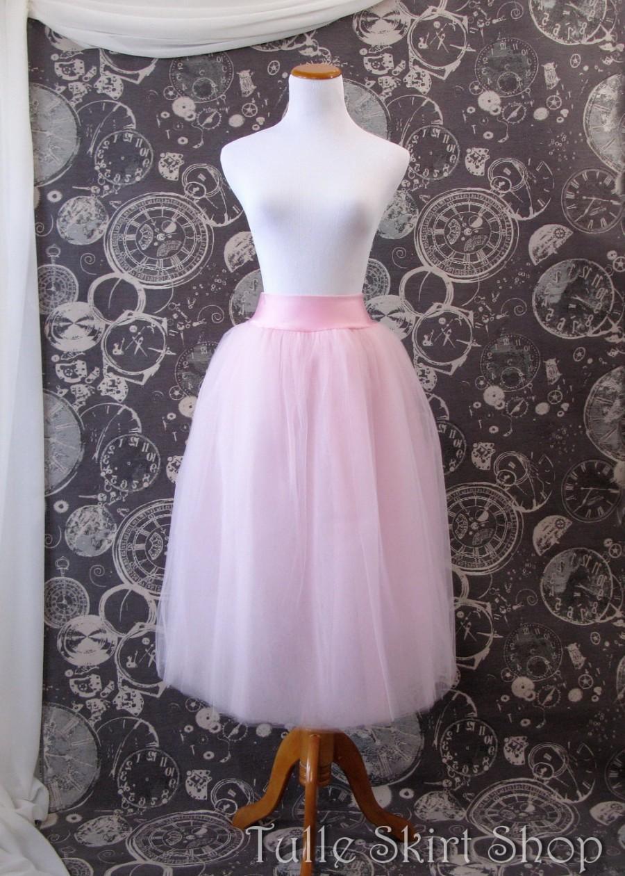 Свадьба - Pink Tulle Skirt -with Dropped Lycra Waistband - Adult Tea Length Tutu, Crinoline or Petticoat - Custom Size