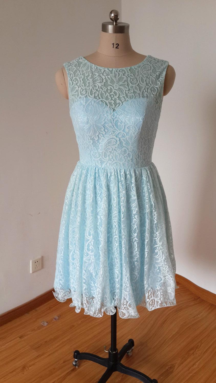 2015 v back light sky blue lace short bridesmaid dress for Short light blue wedding dress