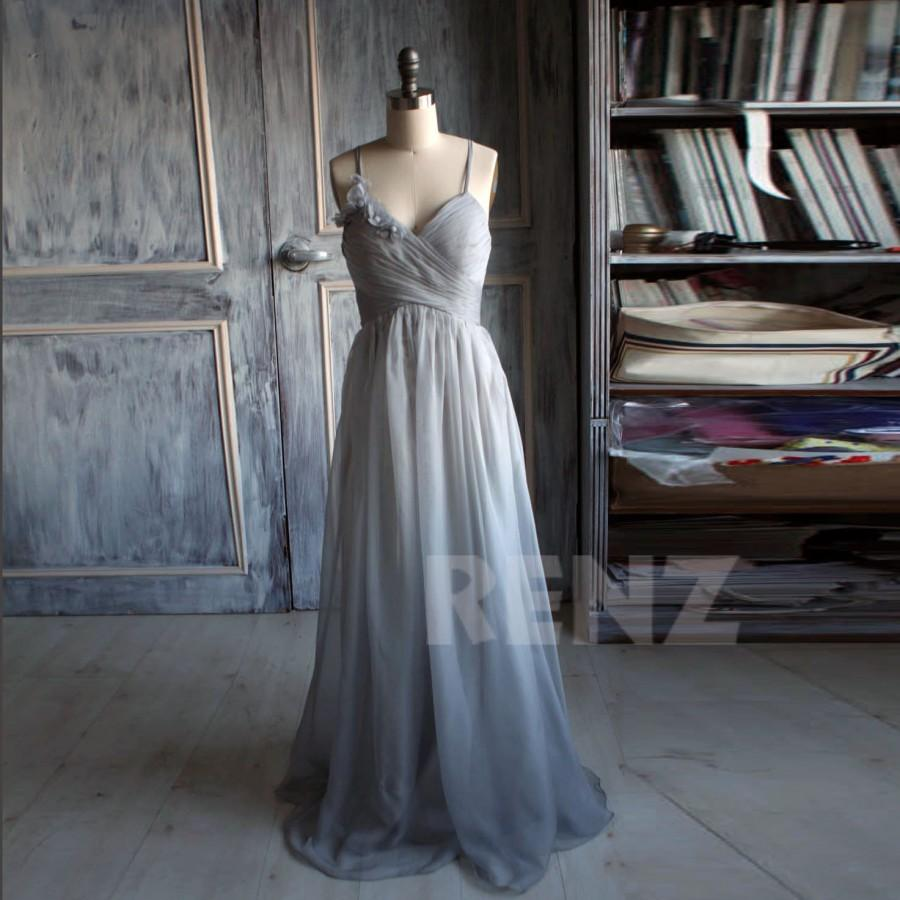 Свадьба - 2015 Gray Bridesmaid Dress, Chiffon Gray Prom Dress, Rosette Wedding Dress, A line Backless Formal Dress, Floor Length (B085A)-Renzrags
