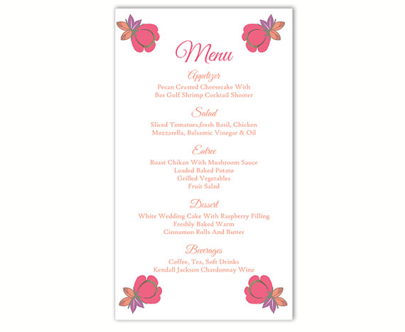 Boda - Wedding Menu Template DIY Menu Card Template Editable Text Word File Instant Download Pink Menu Floral Menu Template Printable Menu 4x7inch
